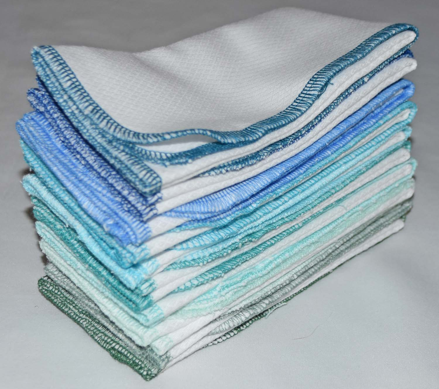 1-Ply Made from Natural Unbleached Cotton Birdseye Fabric Large Paperless Towels 14x14 inches Set of 10 in Rainbow